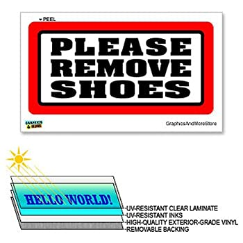 Please Remove Shoes - 12 in x 6 in - Laminated Sign Window Business Sticker