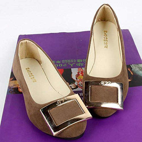 Comfort Lvyuan Oficina Talón Mocasines Slip Perezoso Suede Zapatos Outdoor Walking Plano Carrera Y Piso Casual ons Fashion Mujeres Brown amp; wtfw8q