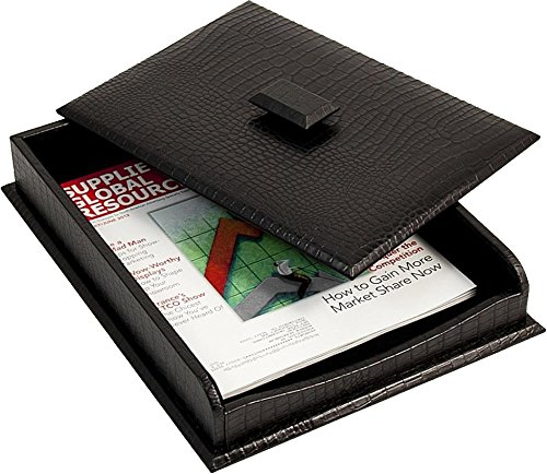 Black Croco Leather Letter Tray with Cover by BB