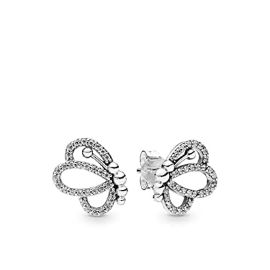 82329bc10 Amazon.com: PANDORA Butterfly Outlines 925 Sterling Silver Studs Earrings -  297912CZ: Jewelry