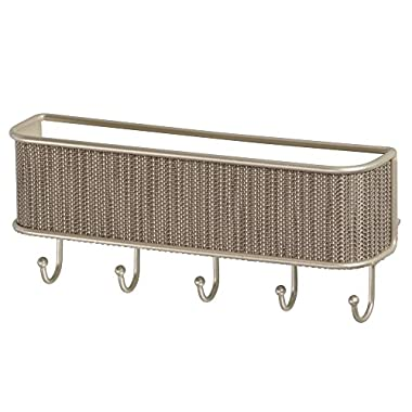 InterDesign Twillo Mail, Letter Holder, Key Rack Organizer for Entryway, Kitchen - Wall Mount, Pearl Champagne