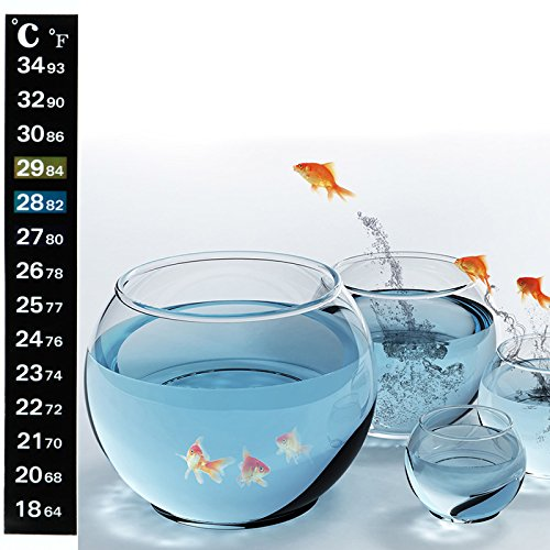 Fucung 2Pcs/Set 18~34°C Aquarium Fish Tank Sticker Thermometer, Digital Dual Scale Stick-On Temperature Thermometer - Accurately Measures - Fast Read - Keep Fish Healthy - One Minute to Set-up