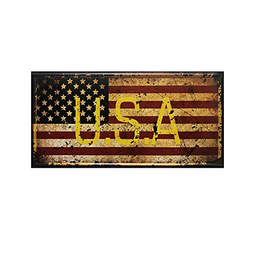 (Simunliyg Novelty Funny Star Spangled Banner Flag of The United States Vintage Retro Metal Tin Sign Wall Sign Plaque Poster for Home Bathroom Road Cafe Bar Pub,Wall Decor Car License Plate Souvenir)