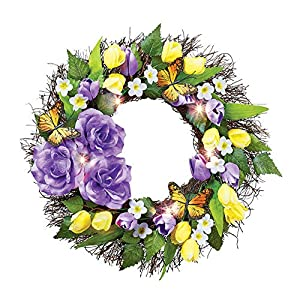 Collections Etc Purple and Yellow Light Up Flower and Butterfly Wreath - Spring Décor for Home or Outdoor Accent 15