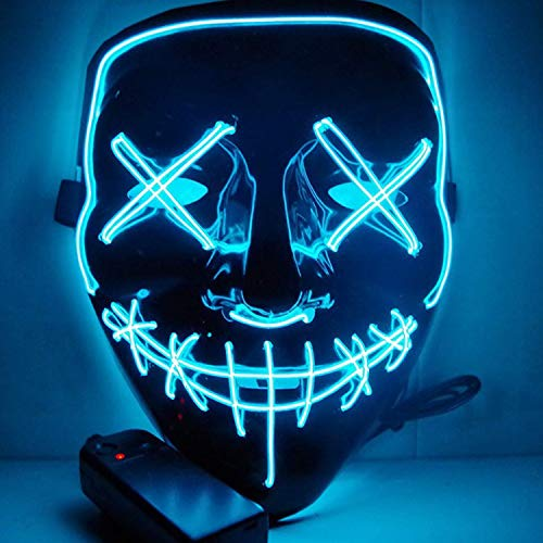 CANASOUR Scary Halloween Mask EL Wire Light up