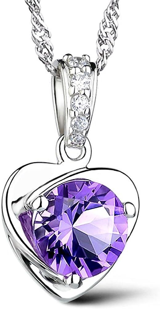 Celebrity Jewellery Ladies S925 Plata Amatista Corazón de cristal en forma de amor collar colgante