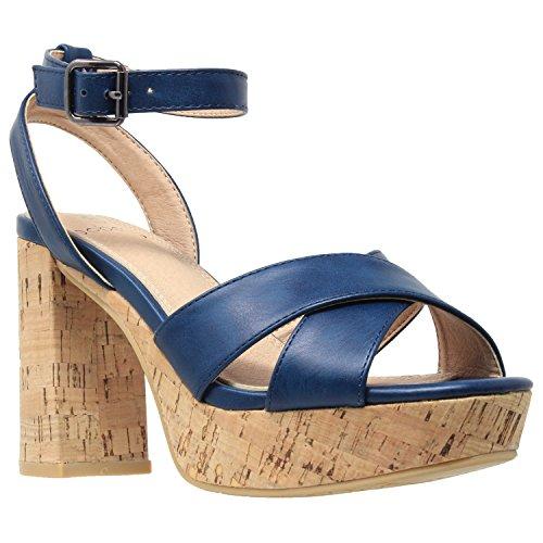Cork Heels - Womens Platform Sandals Ankle Strap Wrapped Cork Chunky Block Heel Shoes Teal SZ 9