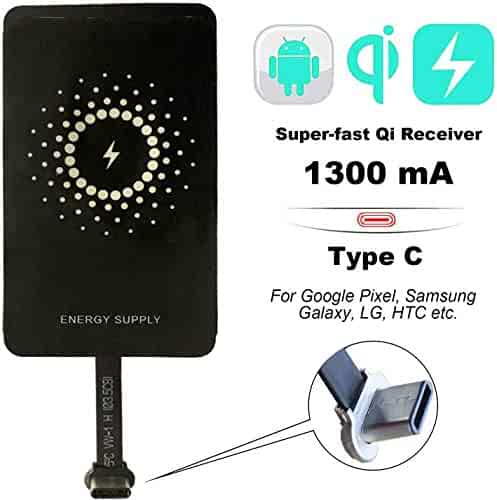[Newest 2020] Qi Type C 1300mA Super-Fast Wireless Charging Receiver and Adapter, MyMAX Magic Tags USB C Wireless Phone Charger Receiver for Google Pixel, Samsung Galaxy, LG, HTC etc Smartphones