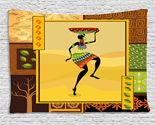 - Ambesonne African Decor Tapestry by, Ethnic Girl Dancing Exotic Zulu Cultural Figure Tribal Fashion Artsy Design, Wall Hanging for Bedroom Living Room Dorm, 60WX40L Inches, Amber Brown