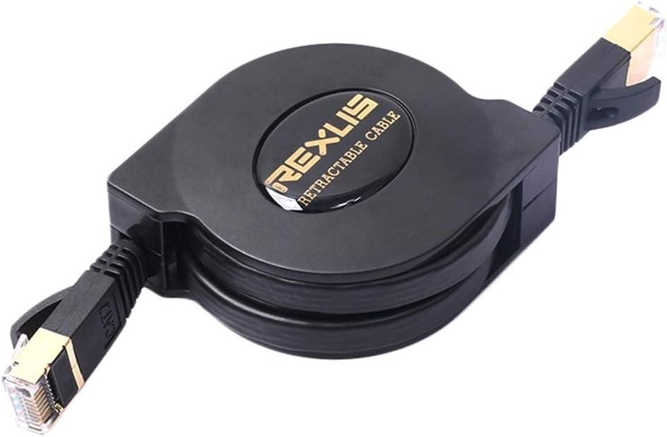 Color : Black Leya LAN Cable and Tools 1.5m CAT7 10 Gigabit Retractable Flat Ethernet RJ45 Network LAN Cable Black