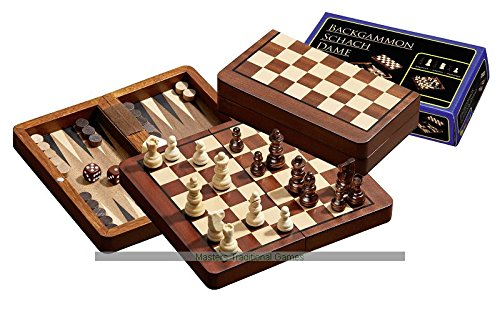 (Philos Chess, Backgammon and Draughts Travel Set (16cm))