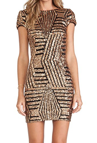 – Glitzer Tag Gold Für Kleid Stylische Kleider Kurz Jeden bgY76fy