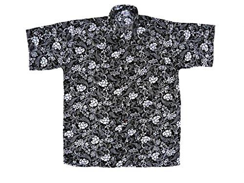 Hawaiihemd Hawai Freizeit Hemd Shirt Viskose schwarz Blumen weiß tropical