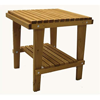 Kilmer Creek Cedar Side Table With Shelf U0026 Stained Finish, Amish Crafted