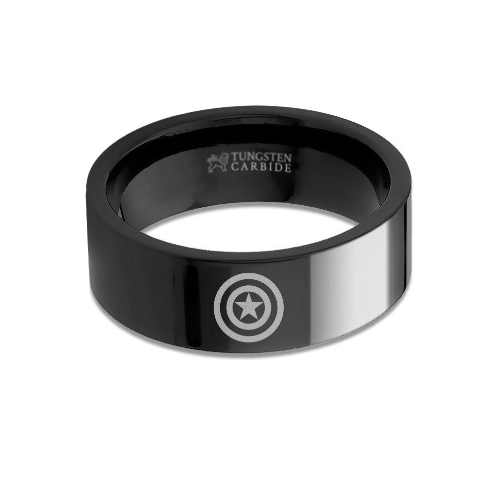 Hanover Jewelers Captain America Shield Symbol Logo Laser Engraved Tungsten Ring - 8 mm
