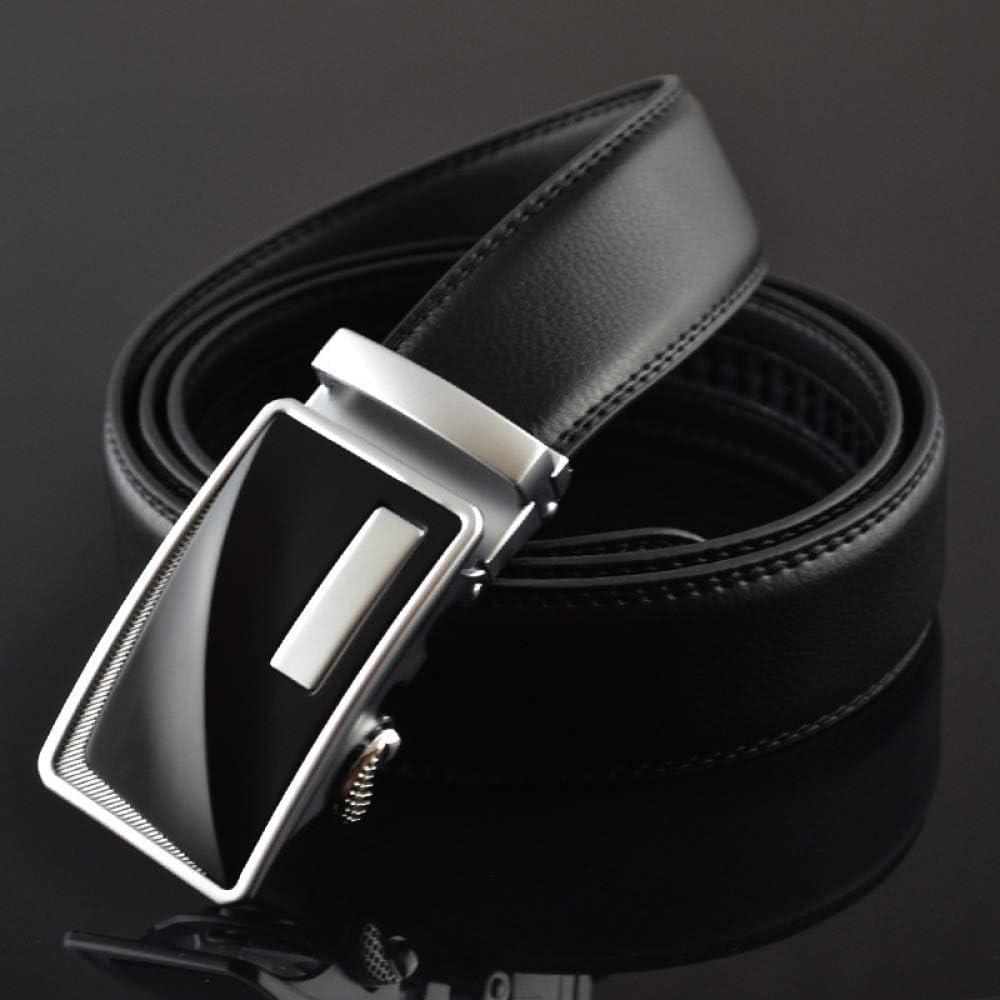 DENGDAI Mens Leather Belt wear-Resistant Leather Automatic Buckle Belt General Automatic Buckle Belt Length 110-130cm