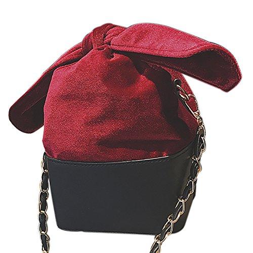 Onfahion Bolsos Mujeres Bolso de Mano en Invierno Bolso de Cosméticos Bolso de Hombro para Chicas Bolso de Cosméticos Rojo