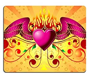 Pink Winged Heart and Swirly Lines Mouse Pads Customized Made to Order Support Ready 9 7/8 Inch (250mm) X 7 7/8 Inch (200mm) X 1/16 Inch (2mm) High Quality Eco Friendly Cloth with Neoprene Rubber Liil Mouse Pad Desktop Mousepad Laptop Mousepads Comfortable Computer Mouse Mat Cute Gaming Mouse_pad