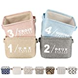 LessMo 4 Pack Collapsible Box Organizer, Rectangular Cloth Storage Basket with Handles, Made of Thickened Cotton and Linen Fabric, for Shelves, Closets, Under-bed, Clothes, Toys (Colorful, Thickened Fabric)