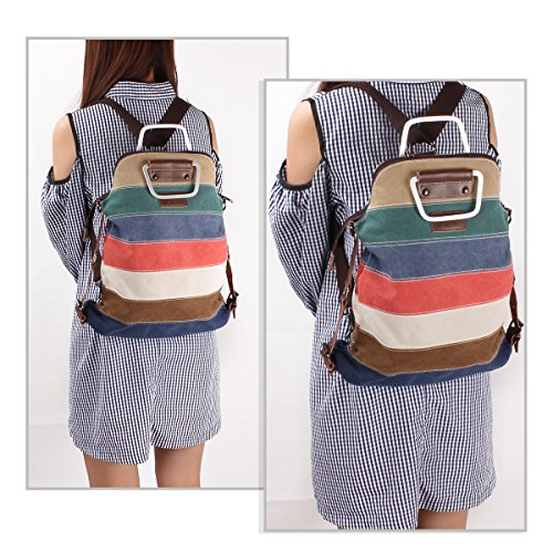 Fashion Vintage Tote Cross Color Bags EZESO Shopping Shoulder Handbag Backpack Women Beach body Multi Canvas qaZOwf6