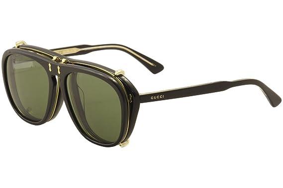 Gucci Herren Sonnenbrille GG0128S 005, Schwarz (Black/Green), 56
