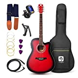 Vangoa - 41'' Full-Size VG-41ECR Red Acoustic Electric Cutaway Guitar with Guitar Gig Bag, Strap, Tuner, String, Picks, Capo