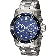 Men's 0070 Pro Diver Collection Analog Chinese Quartz Chronograh Silver-Tone/Blue Stainless Steel...