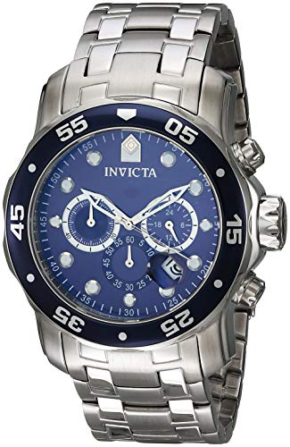Invicta Men's 0070 Pro Diver Collection 	Analog Chinese Quartz Chronograh Silver-Tone/Blue Stainless Steel - Stainless Marine Wrist Steel Watch