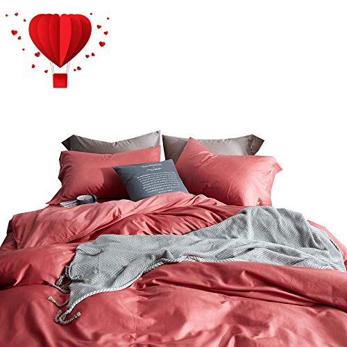 - BuLuTu 60s Long Stapled Cotton Luxury Bedding Cover Sets Twin Coral Red Hypoallergenic Solid Color Duvet Cover Sets Buttons Closure for Girls