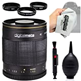 Digitalmate 500mm f/8 HD Reflex Mirror Telephoto Lens with Microfiber Cloth for Canon EOS 70D, 60D, 60Da, 50D, 1Ds, 7D, 6D, 5D, 5DS, Rebel T6s, T6i, T5i, T5, T4i, T3i, T3 and SL1 Digital SLR Cameras
