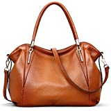 VATAN Women's Genuine Leather Handbags Fashion Leather Shoulder Bags Work Tote Bag (Brown)
