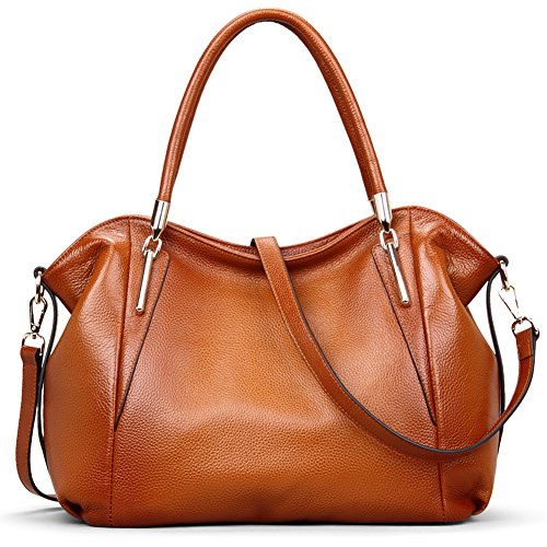 Vatan Women's Vintage Genuine Leather Handbag Daily Work Tote Shoulder Bag Large Capacity Brown Italian Leather Handbag