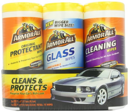 Armor All 44983 Protectant, Cleaning And Glass Wipe   25 Sheets, (Pack Of 3)