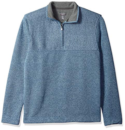 Van Heusen Men's Flex 1/4 Zip Texture Block Sweater Fleece, Forever Blue, Medium ()
