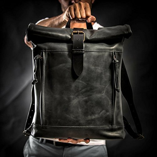 Roll top leather backpack by Kruk Garage Laptop backpack by Kruk Garage