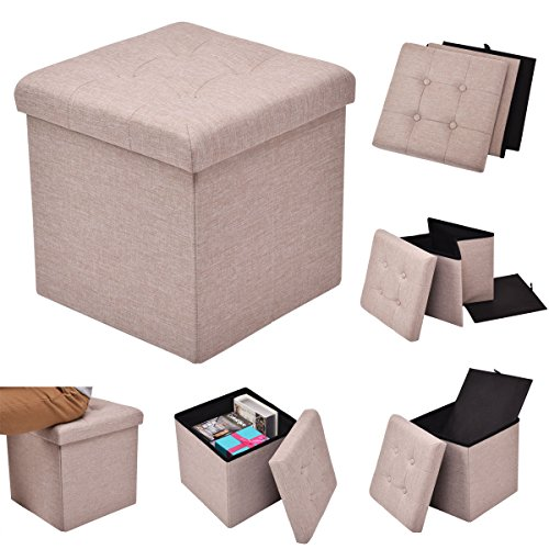 Folding Storage Cube Ottoman Seat Stool Box Footrest Furniture Home Decor Beige Bonus free ebook By ()