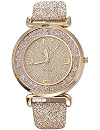 Women Watches On Sale Clearance Prime Ladies Fashion Dress Wrist Quartz Watches with Crystal Leather Band Elegant Casual Analog Classic Business Watches for Women (Gold)