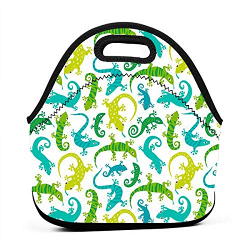 ONUPMIN Neoprene Cute Lizards Animals Portable Lunch Bag Carry Case Tote with Zipper Strap Box Container Bags Picnic Outdoor Travel Fashionable Handbag Pouch for Women Men Kids Girls