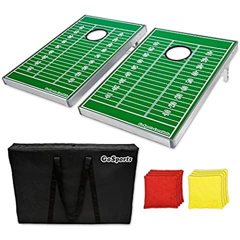 Go Pong CornHole Bean Bag Toss Game Set, Football Edition (Backyard Beans)