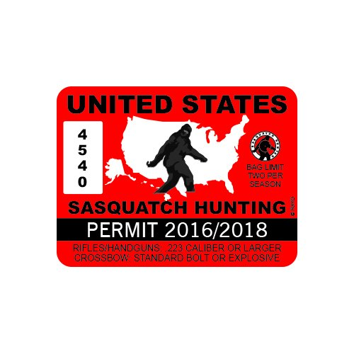 United States Sasquatch Hunting Permit - Color Sticker - Decal - Die Cut