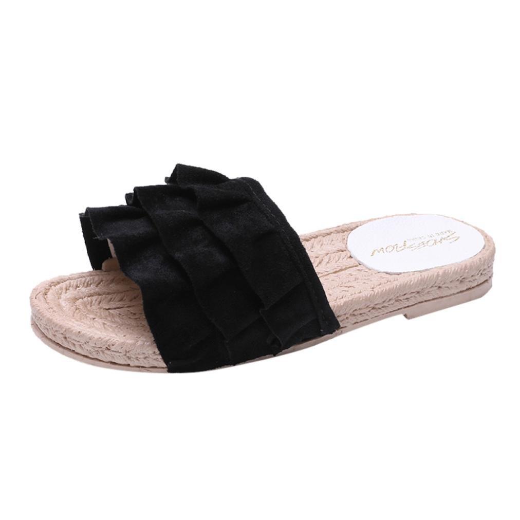 low priced 3541b 0eb75 hausschuhe damen pantolette, FEITONG Sommer Slip-on Hausschuhe Komfort  Sandaletten Spitze Zehentrenner Hausschuhe Pantoletten