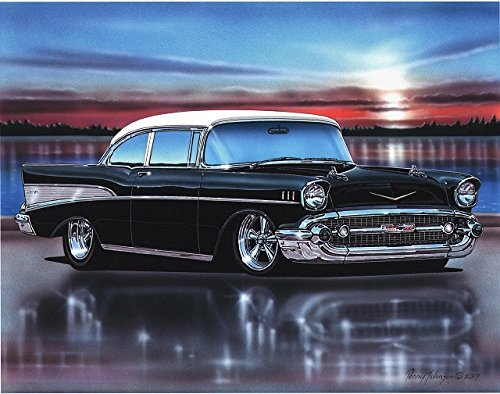 1957 Chevy Bel Air 2 Door Sedan Hot Rod Car Art Print Black & White 11x14 Poster
