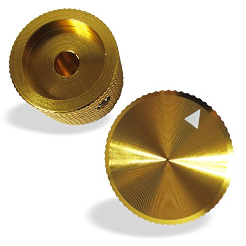 air (2 PCS, Gold-Color) Potentiometer Knobs - Solid Aluminum - CNC Machined - Anodised Finish, 25 mm diameter x 15 mm height, Fits 6.0 mm Diameter Shaft (Anodised Shaft)