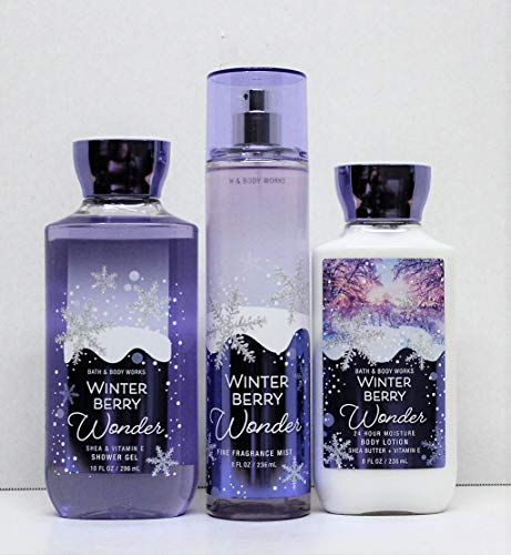 Bath and Body Works Winter Berry Wonder Shower Gel, Body Lotion, Fine Fragrance Mist Daily Trio 2018