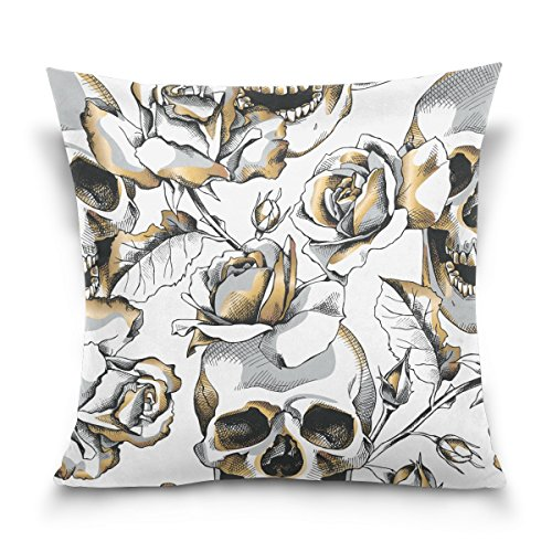 ALAZA Double Sided Halloween Gold Skull and White Rose Flowe