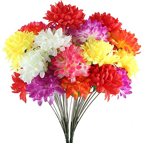 XYXCMOR 2 Pack 18 Heads Artificial Fake Mums Silk Autume Flowers Bouquet Arrangements Home Garden Dining Table Windowsill Wedding Christmas Party Cemetery Centerpiece Decor Multicolour