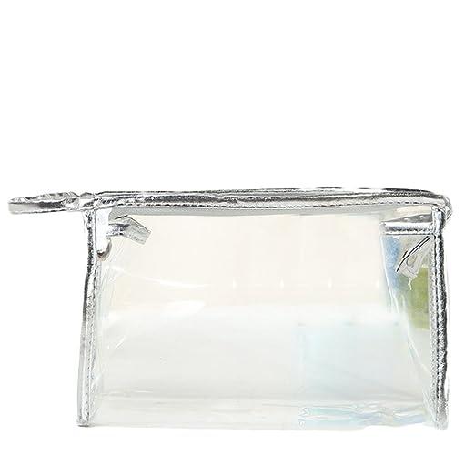 Demarkt Bolso Transparente Bolsa de Viaje Bolsa de Cosméticos Impermeable Neceser Wash Organizador con Cierre de Cremallera(Plata)