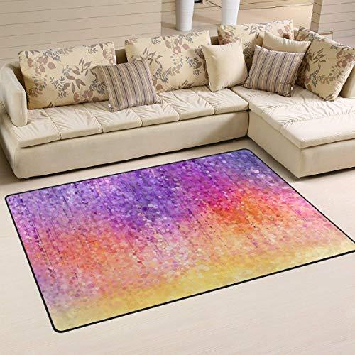 (aoliaoyudongyongpin Abstract Watercolor Painting Spring Purple Flower Pattern Area Rug Rugs Non-Slip Indoor Outdoor Floor Mat Doormats Home Decor Size:16 X 24(40x60cm))