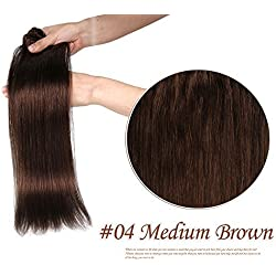Clip Hair Extension, Grammy 20 Inch 8pcs Remy Clips in Human Hair Extensions 100gr with Clips for Highlight (#4 Medium Brown)