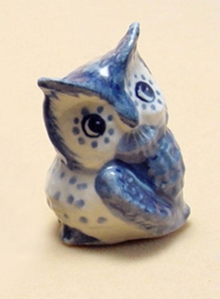 ChangThai Design Dollhouse Miniatures Ceramic Owl Model 2 FIGURINE Animals Decor